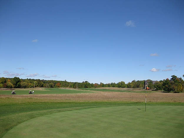 Faux Links: From the 7th green at Monck's Landing, looking at the 8th fairway (right) and the ninth hole (left)
