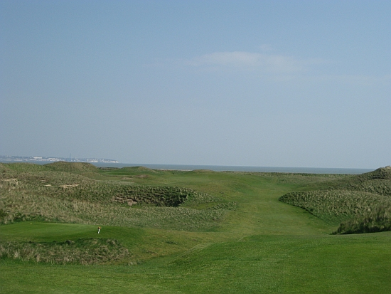 The 5th at Royal St. George's with its green hidden behind some lumpy dunes.