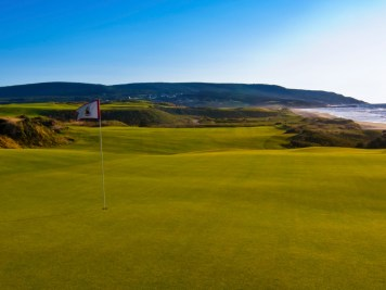 Looking back from the green at 15th hole at Cabot Links