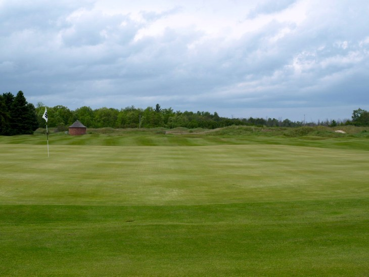 View from the 18th green back to the fairway