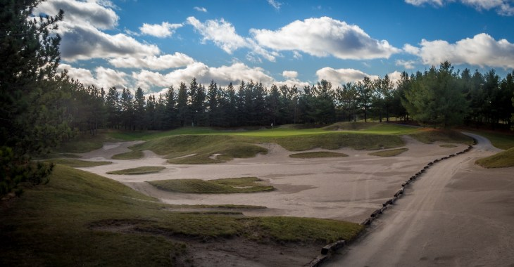 Nothing but sand and green on the short par-3 15th hole