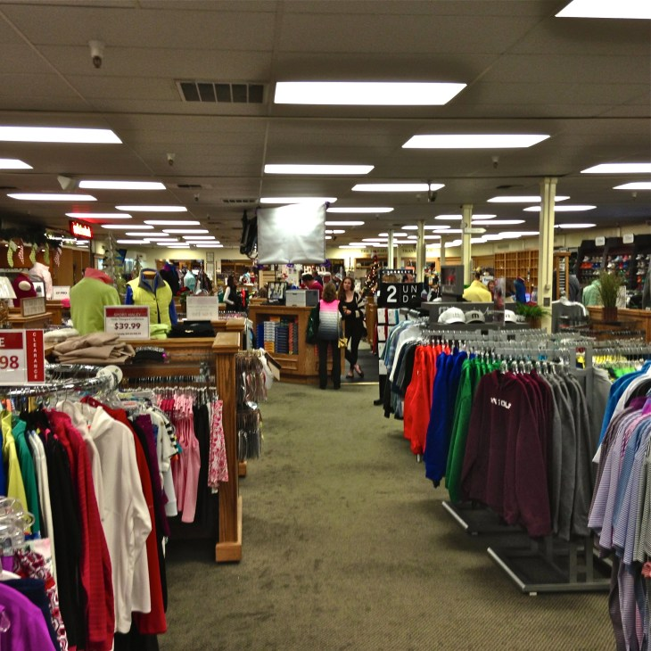 The impressive clothing side of the store.