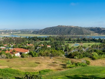 Overlooking the Aviara Golf Club as it lines the Batiquitos Lagoon off the Pacific Ocean in Carlsbad, California.