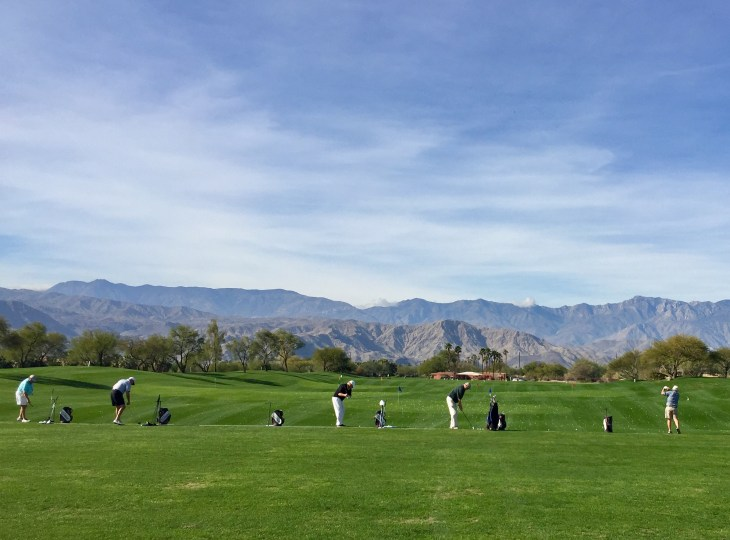 The driving range at the practice facility at Desert Willow Mountain View