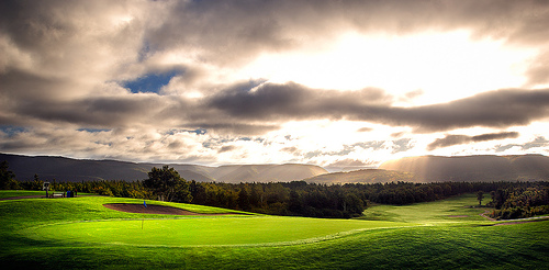 The 18th at Le Portage -- a course in Cape Breton that is one of the Moote's best.