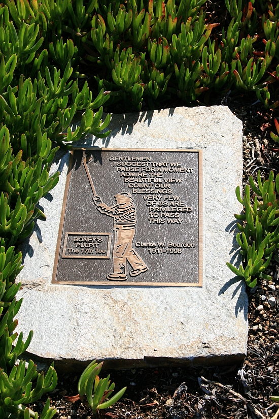 Smarter words were never known -- a plack found off the 17th tee at Cypress Point