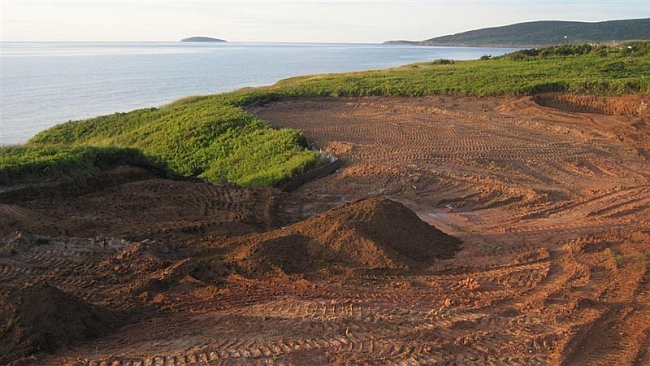 Oh the views: A 470-yard par-4 under construction at Cabot Links in Nova Scotia.