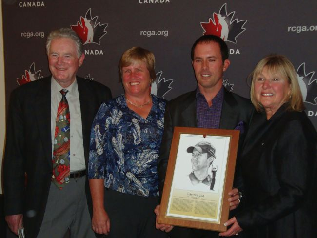 Mike Weir (centre right) stands at the HOF induction ceremony last night with other Hall of Fame members, Gary Cowan (left), Marianne Lapointe (centre left) and Sandra Post (right)
