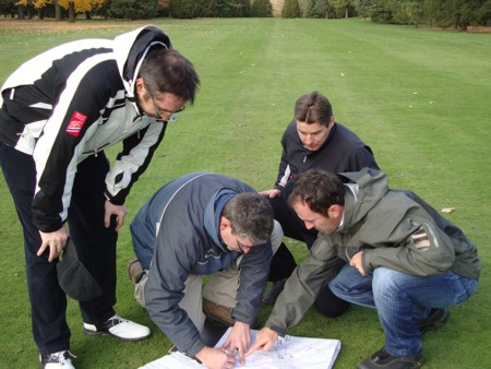 WORKING IT OUT: Mike Weir and Ian Andrew discuss ideas while at an undisclosed Canadian course last week.
