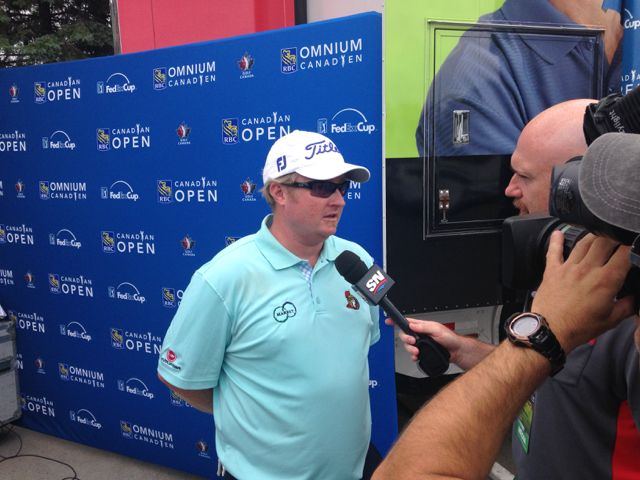Brad Fritsch talks to reporters following his final round at the 2014 RBC Canadian Open.