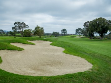 Toughest handicap hole on the course, dogleg right par-4 7th