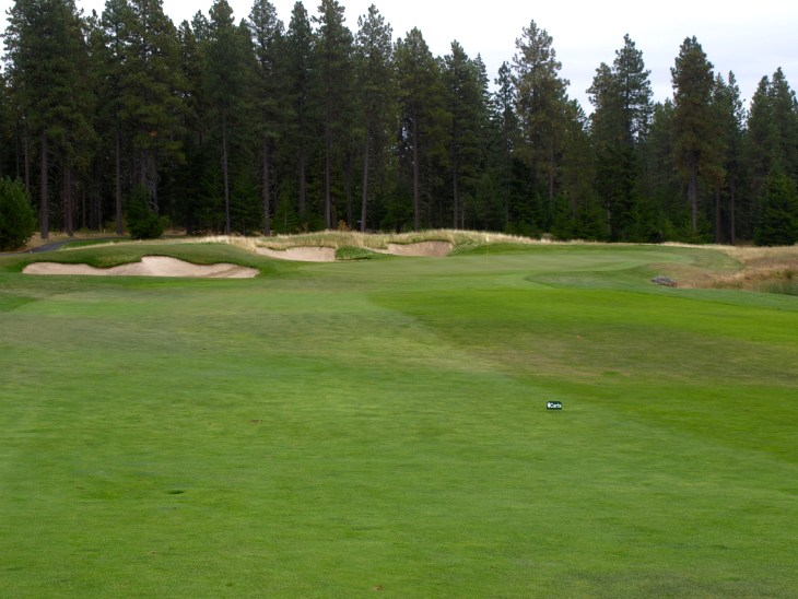 Well placed bunkers flank the left side of the Par 5 second green.