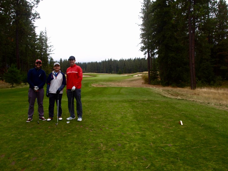 Jim flanked by his 2 new golfing buddies, Ryan and Chris