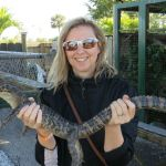 Sharon McAuley and a baby alligator (Image: Brian Kendall)