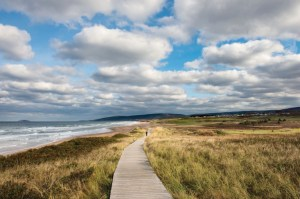 The public boardwalk along the ocean at Cabot Links golf course in Cape Breton Nova Scotia