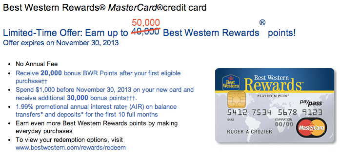 Canada) 50,000 Points Signup Bonus for the Best Western MasterCard