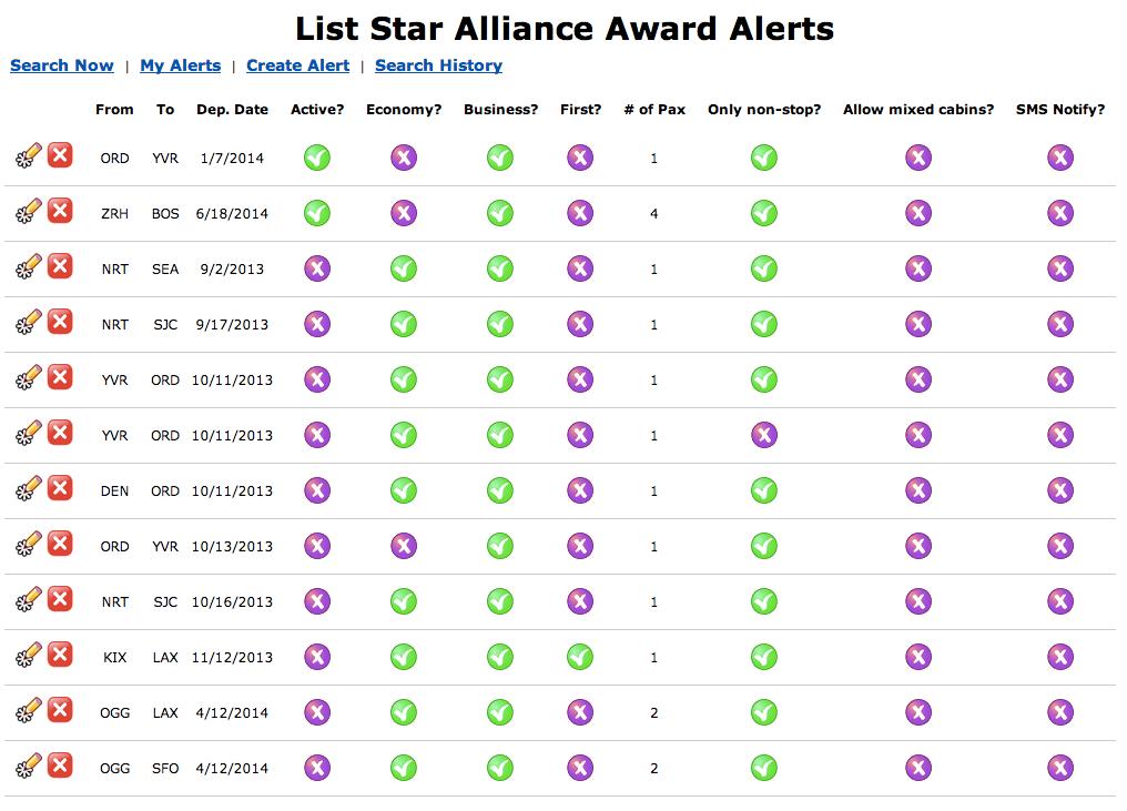 Expertflyer Star Alliance Alerts