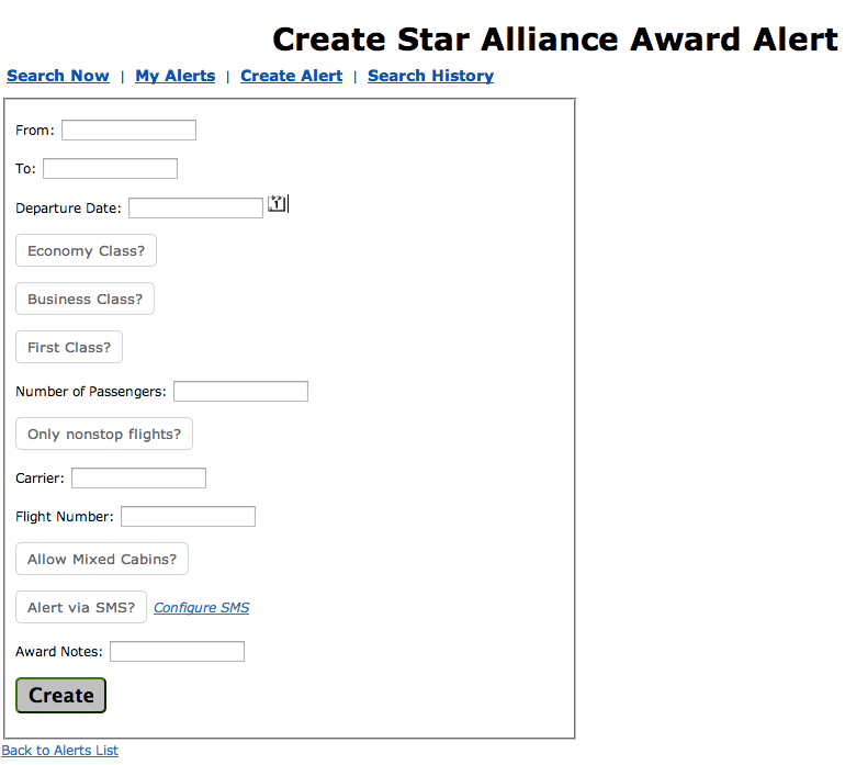 Expertflyer Star Alliance Alerts Setup