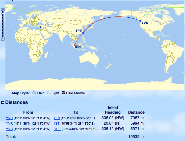 Aeroplan Mini Rtw Map