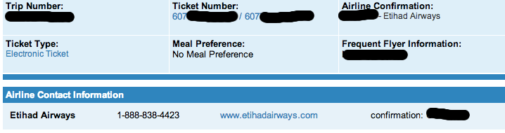 Etihad First Class Colombo Ticket Confirmation