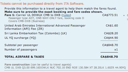 SriLankan Airlines Avios ITA Matrix Breakdown