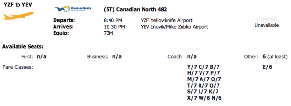 Six seats between Yellowknife and Inuvik available for Canadian North Aeroplan Redemption