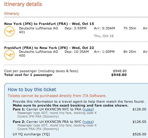 Standard round trip New York to Frankfurt on Lufthansa