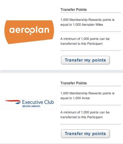 Aeroplan and Avios