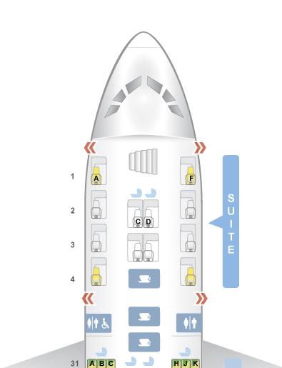 Singapore Airlines A380 Suites Seatmap