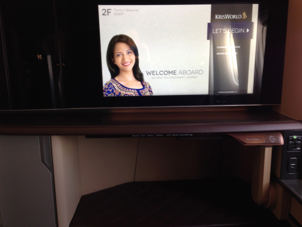 Sinagpore Airlines First Class IFE Screen