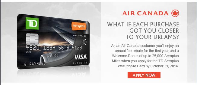 Td aeroplan visa infinite first year free promotion td aeroplan visa first year fee waived colourmoves