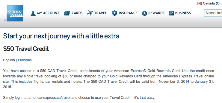 American Express Travel Credit Offer