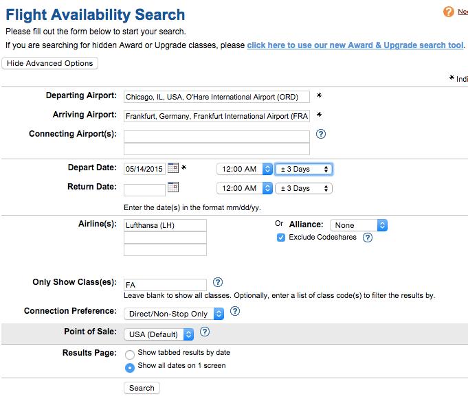 Flight Availability on ExpertFlyer