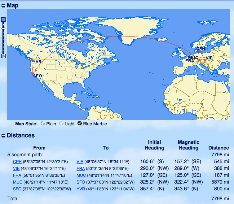 Aeroplan Award Itinerary