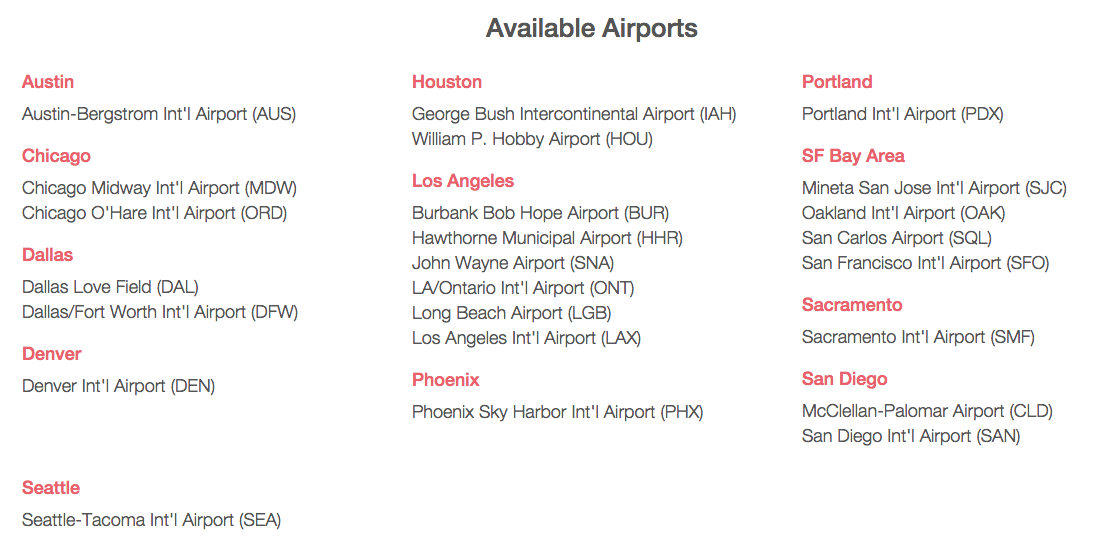 Airports Served by Wingz