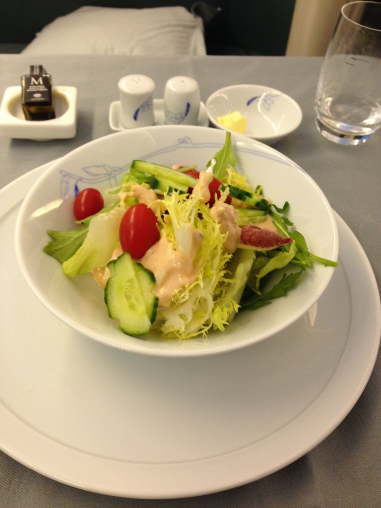 Korean Air First Class Review Salad