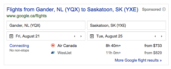 Flights from Gander to Saskatoon