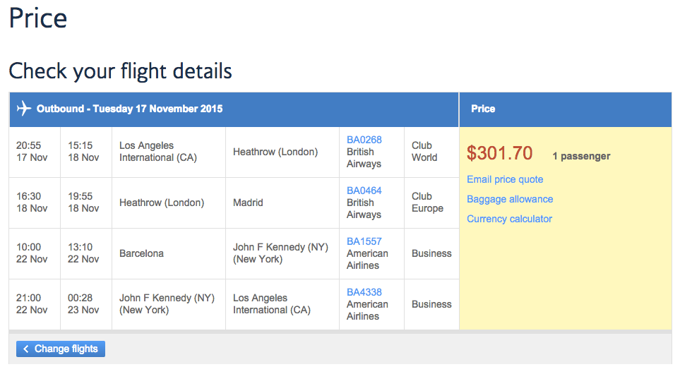 $301 for Business Class!