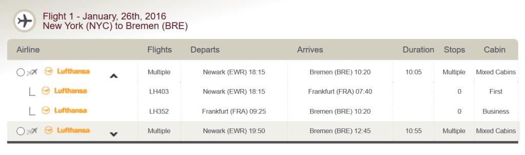 New York JFK to Bremen via Frankfurt on Lufthansa First Class