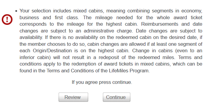 LifeMiles Mixed Cabin Warning