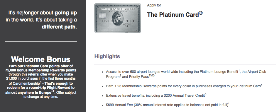 American Express Platinum Card Bonus Offer