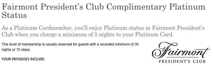 American Express Platinum Fairmont Fastrack