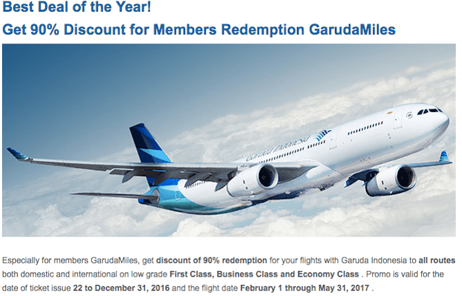 Garuda Miles 90% off Promotion