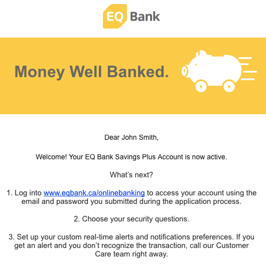 EQ Bank Welcome Email