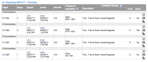 Booking Emirates with JAL Miles - Expertflyer