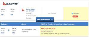 Booking Qantas Business Class with Avios