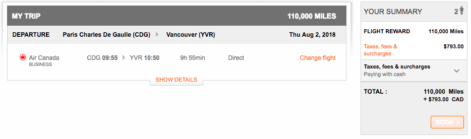 Air Canada Paris - Vancouver Business Class Award