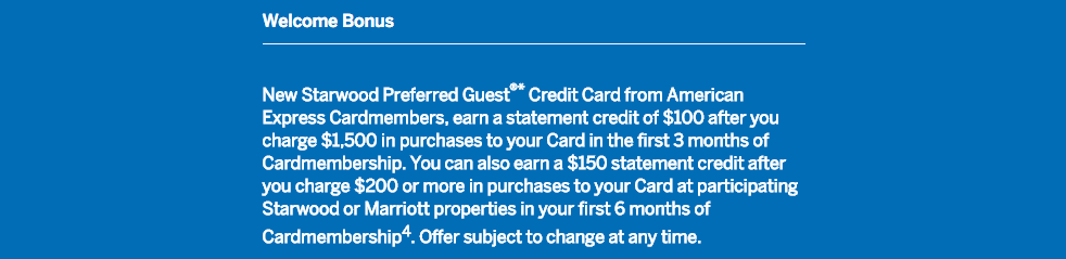 New SPG Credit Card Offer