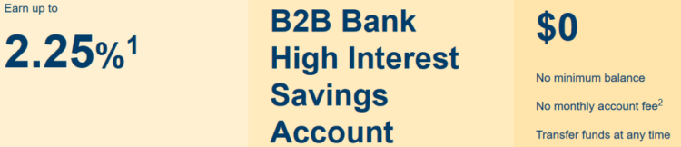 B2B Bank High Interest Savings Account