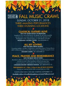 Fall Music Crawl – Brantford Symphony Orchestra – Sunday, October 21, 2018